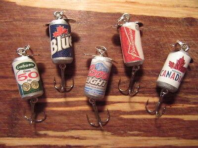 Molson Canadian Labatt's Blue 50 Beer Coors Light Budweiser 5 Fishing Lures