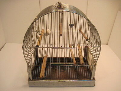 OLD VINTAGE CHROME HENDRYX BIRD CAGE BELLS BIRD HOUSES COLLECTIABLE
