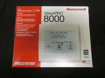 Honeywell Visionpro 8000 Wredlink 7day Progr. 3h2c Thermostat - Th8321r1001
