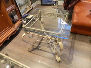 Gorgeous Glass Top Coffee Table and Matching End Table