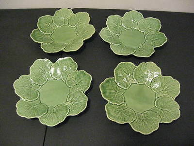 "EXCELLENT SET OF 4 BORDALLO PINHEIRO GERANIUM GREEN 9 3/4"" LUNCHEON PLATES"
