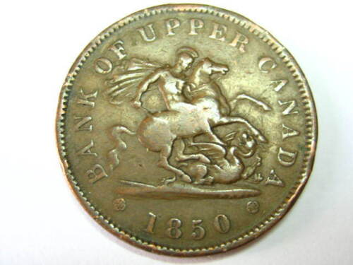 1850 Bank of Upper Canada One Penny Bank Token