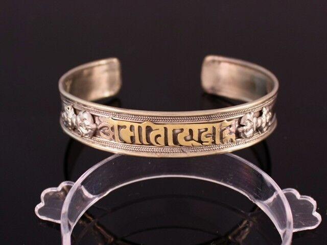 Big Delicate Tibetan Carved Golden OM Mani Padme Hum Double Dorje Cuff Bracelet