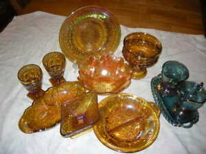 VINTAGE ANTIQUE GOLD IRIDESCENT CARNIVAL GLASS DISHES FOR HOME