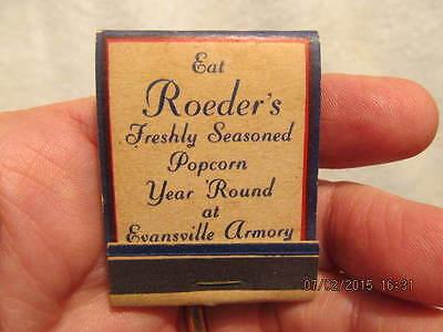 Vtg. Match Book Advertises Roeder's Popcorn Evansville IN Burdette Park & Armory