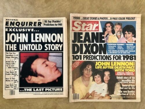National Enquirer December 30, 1980 John Lennon Last Picture AND Star Newspaper