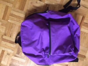 Large duffle bag (black) $6 and backpack (purple)  $4