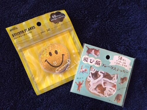 FLAKE STICKERS FLYING CATS 50P or SMILE 40P Harvey Ball World Japan Cute Seal