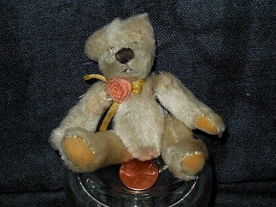 "VINTAGE JOINTED STEIFF? MOHAIR TEDDY BEAR WITH ROSE RIBBON*SEWN PAWS 3 ¼"" CUTE"