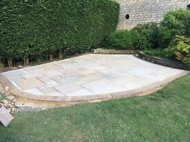 Just over 16m2 of Buff Sandstone paving. Less than £12 per square metre.