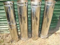 "TWIN WALL FLUE PIPE STAINLESS STEEL 8"" EXTERNAL AND 6"" INTERNAL IN VERY GOOD CONDITION"
