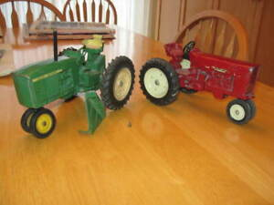 Older John Deere and International Tractor Toys