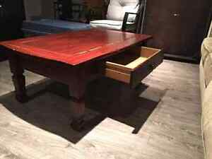 Solid wood coffee table with drawer
