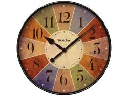 Westclox 32897 12 Kalediscope Round Wall Clock with Multicolor Dial, Rubbed Cas