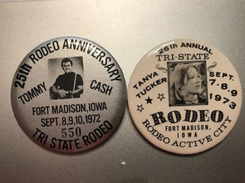 (1972)25th+(1973)26th AnnualTri-State Rodeo IOWA Buttons TanyaTucker+Tommy Cash