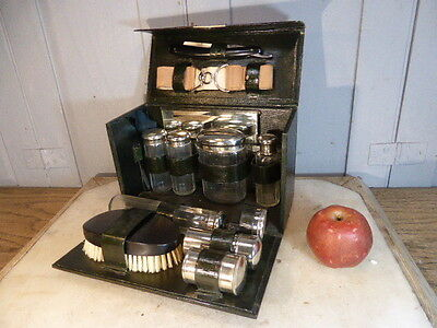 Antique black leather clad vanity case contents glass pots