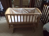 Excellent size baby crib, mattress, fitted sheet and border from pet/smoke free home.