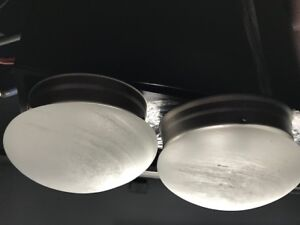 3 Frosted Dome Glass Light Fixtures - $30
