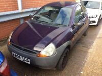 FORD KA 1.3 PETROL MANUAL 3 DOOR HATCHBACK STARTS AND DRIVES PURPLE CHEAP CAR NOT FIESTA CORSA CLIO