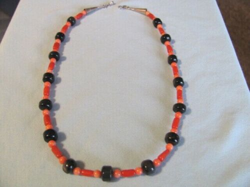 VINTAGE SOUTHWESTERN PIETERSITE & 2 SHADES OF CORAL BEADS NECKLACE STERLING ENDS