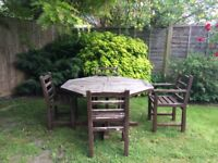 Large Solid Teak Octagonal Garden Table plus 4 Chairs (2 Carvers)