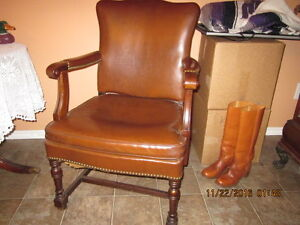 Two old leather chairs for office, library, etc.