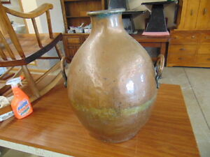 A Heavy Copper Hand Made 2 Handled Pot