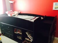 Twin Loft Bed with Bookcase & Drawers