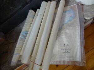 Lot of 6 Vintage Nautical Maps & Plastic Map Protector