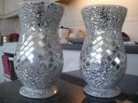 2 x Mosaic Glass Vases...Reduced Price...£10