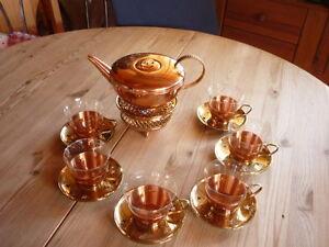 20 tlg. Teeservice Kupfer / Messing für 6 Pers. Teekanne Gläser Stövchen Vintage