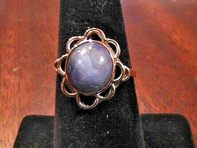 VINTAGE ESTATE 14K YELLOW GOLD-GREY-BLUE 6.5+ CARATS SAPPHIRE RING SIZE 6.75