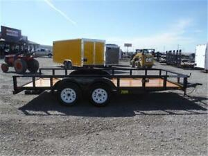 7 X 16 TANDEM AXLE UTILITY TRAILER - PULL OUT RAMPS *TAX IN*