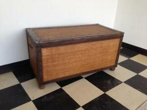 Wicker/Metal/Leather Chest