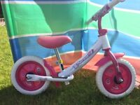 girls balance bike pink and white for children up to 50kg excellent condition