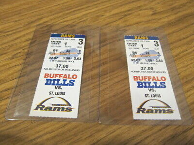 Lot of 2 Ticket Stubs Buffalo Bills vs. St. Louis Rams 09/20/1998 Home Opener
