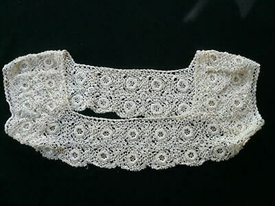 PAIR VINTAGE IVORY COTTON HAND CROCHET LACE CHAIR ARM COVERS