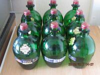 12 fancy round shaped green 1 litre wine bottles,