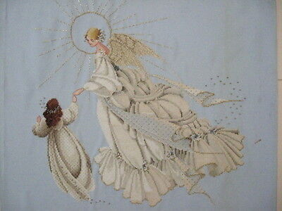 Vint 1990's Lavendar & Lace ANGEL OF MERCY Finished Cross-Stitch X-Mas Blessed