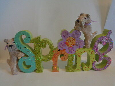 """HAND SCULPTED*****2 WHEATEN TERRIERS PAIR CELEBRATING """"SPRING"""" WOOD DECOR*****"""