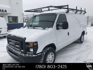 2014 Ford E-150 Cargo Van with Shelving Partition & Ladder Rack