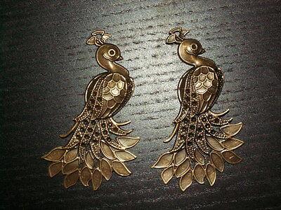 4 Messing Vogel Phönix Pfau Anhänger Amulett Königin Kaiserin 33.1