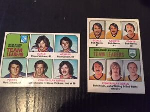 1975-76 OPC New York Rangers and L.A. Kings team leader cards