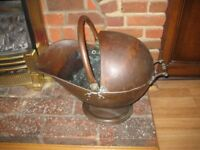 Complete Original Mid Victorian Hooded Helmet Coal/Log Scuttle.