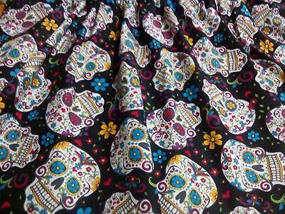 Window Curtain Valance Halloween Folkoric Sugar Skull Tatoo - Sugar Skull Tatoo