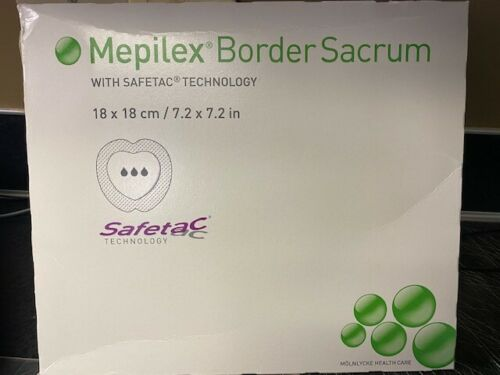 "Mepilex 282000 Border Sacrum Foam Dressing 7.2"" x 7.2"" - Box of 5 Exp 01/2020"