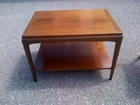 retro style solid wood coffee table with base shelf