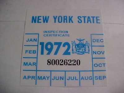 new york 1972 registration inspection sticker windshild