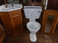 lovely Heritage floral corner basin & wc. gold fittings. Pine vanity unit and mirror wall unit vgc