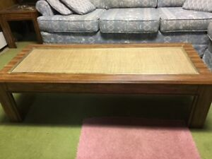 Vintage solid wood 1980s style coffee table and two end tables